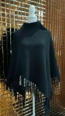 Di Moda, Black Slub Knit Poncho W/ Fringing