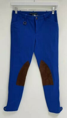 Ralph Lauren, Cobalt Blue Straight Leg Pant W/ Contrast Knee Patch, Size US4