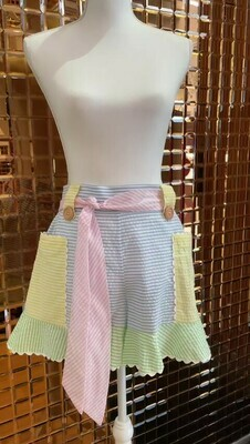 Binny, White/Pastel Stripes Shorts W/ Tie Belt Scallop Trim, Size 8