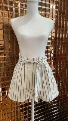 Charlior, Cream/Black Stripe Elasticated Pleat Waist Shorts, Size S