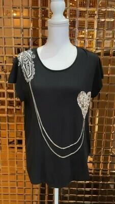 Sass & Bide, Black/Antique Silver Sequin Chain Tee, Size XS