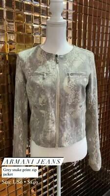 Armani Jeans, Grey Snake Print Zip Jacket, Size US6