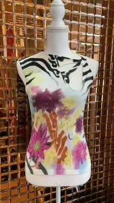Class Roberto Cavalli, White/Black/Pinks Print Knit Top Keyhole Detail, Size US10