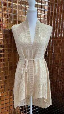 Patrizia Pepe, Beige/Gold Lurex Ribbon Knit Gilet W/ Tie Belt, Size OS