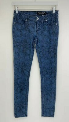 DKNY JEANS, Blue/Black Animal Print Denim Pant, Size 27