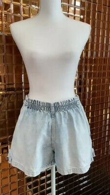 Bassike, Light Blue Denim Shorts With Elasticated Waist, Size M