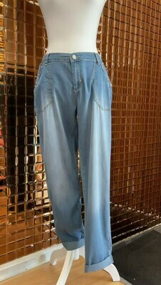 Eva Kayan, Blue Casual Denim Pant With Silver Stud Pocket Detail, Size 40