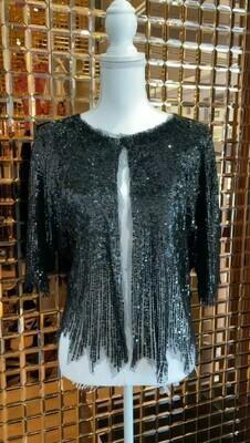Black, Sequin Embellished Bolero, Size 8/10