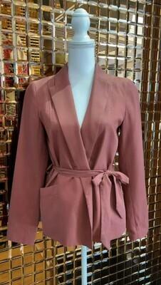 Ingrid Starnes, Burnt Orange Lapel Jacket With Tie Belt, Size 8