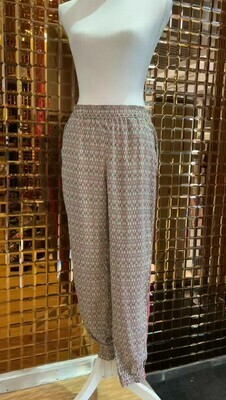 Maison Scotch, Black/Pink/Cream Geometric Print Pants With Orange Side Stripe, Size S