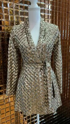 By The Way, Gold Sequin Lapel Coat With Tie Belt, Size XXS