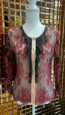 Alannah Hill, Black/Red Lace Silk Cardigan, Size 10