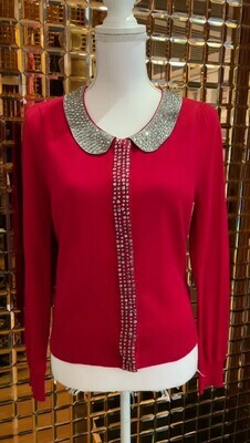 Alannah Hill, Red/Silver Bead Embellished Wool Cardigan, Size 14