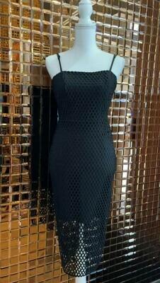 Kookai, Black Netting Lace Pencil Strappy Dress, Size 36
