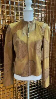 Tan, Ostrich Effect Leather Zip Jacket, Size M