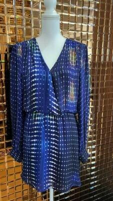 Parker, Blue/Multi Print Cross Open Back Silk Dress, Size L