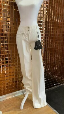 Dolce & Gabbana, White Pants Pocket Detail Wide With Band, Size 42