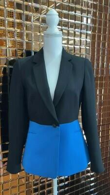 Arthur Galan, Black/Blue Silk Blazer, Size 8