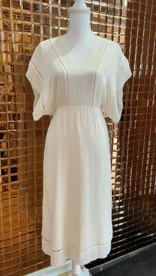 Zimmermann, Cream Ladder Embroidery Stitch Panel Detail Dress, Size 0