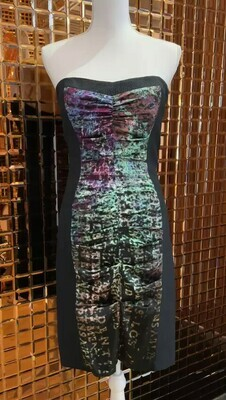 Nicole Miller, Grey/Mottled Multiprint Front Ruched Panel Textured Dress, Size US4
