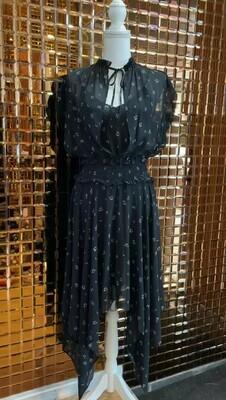 The Kooples, Black/White Floral Print Asymmetrical Hem Shirred Waist Dress, Size 10