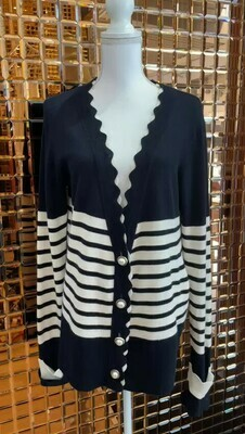 Claudie Pierlot, Navy/Cream Stripe Knit Cardigan With Scallop Edging Faux Pearl Buttons, Size 3