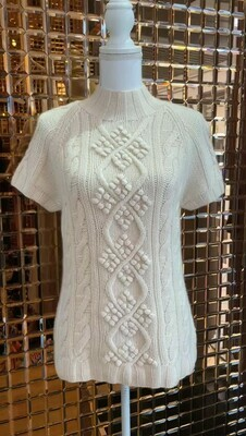 Udium, Cream Cashmere High Neck Cable Knit Jumper, Size L