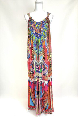 Camilla, Red/Multi Print Embellished Front D/String Neckline Straps Maxi Silk Dress, Size S/M