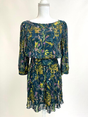 Diane Von Furstenberg, Green/Multi Floral Pleat Mini Dress W/Belt, US6