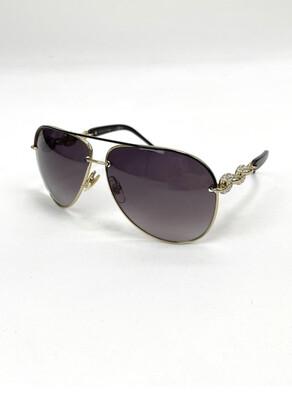 Gucci Gold/Crystal Arm Aviator sunglasses