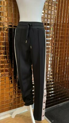 Notes Du Nord, Black/Nude/White Side Stripe Panel Rose Gold Ankle Buttons Pant, Size S