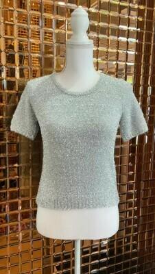 Sass & Bide, Silver Lurex Fluffy Knit Top, Size XXS