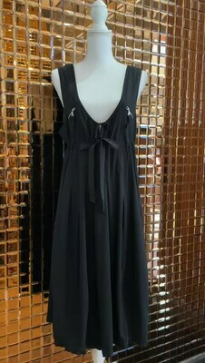 Marithe + François Girbaud, Black Pleat Zip Qnd Stitch Detail Midi Dress, Size US8