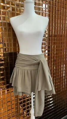 Camilla and Marc, Khaki Green Layered Mini Skirt Self Tie Belt, Size 10