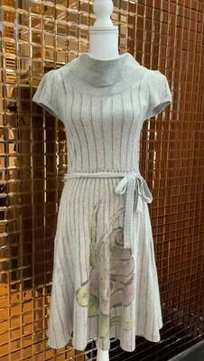 Sleeping On Snow, Grey Wool Print Cap Dress, Size S