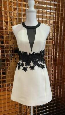 Halston, Cream/Black Flower Cutout Applique Detail Halter Dress Sheer V Front Panel, Size 0