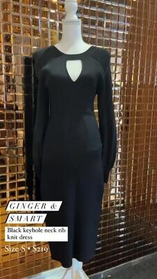 Ginger & Smart, Black Keyhole Neck Rib Knit L/Slv Dress, Size S