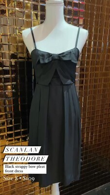 Scanlan Theodore, Black Strappy Bow Pleat Front Dress, Size 8