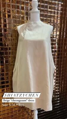 Shiatzychen, Beige 'Cheongsaam' S/Less Dress , Size S/M