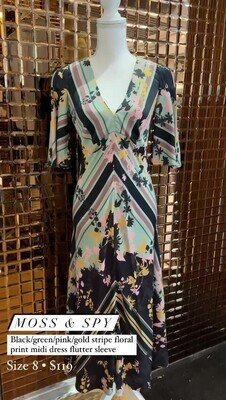 Moss & Spy, Black/Green/Pink/Gold Stripe Floral  Print V Neckline Midi Dress Flutter Slv, Size 8
