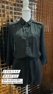 Etienne Marcel, Black 3/4 Slv Shirt Dress Mock Skirt Detail, Size S