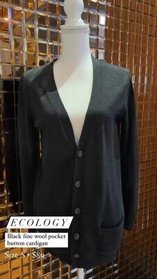Ecology, Black Fine Wool Pkt Button Cardigan, Size S