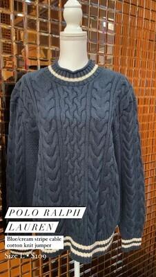 Polo Ralph Lauren, Blue/Cream Stripe Cable Cotton Knit Jumper, Size L