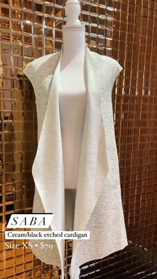 Saba, Cream/Black Etched S/Less Cardigan, Size XS