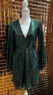 Saloni, Green Sequin V- Neck Blouson Slv Dress, Size UK8/US4