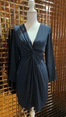Zimmermann, Navy Deep V Knot Front L/Slv Silk Dress
