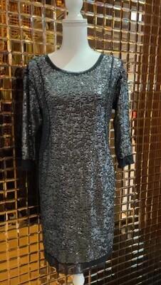 Charli Joe, Grey/Black Mesh Trim Sequin 3/4 Slv Dress W/Slip, Size XS