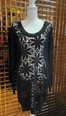 Twin-Set, Black Lace Tunic Dress W/Rib Trims, Size S
