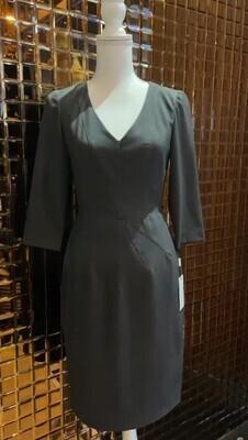 Calvin Klein, Grey V Panel Darted 3/4 Slv Dress, Size 2