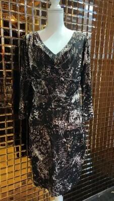 Samantha Sung, Browns/Black Animal Print V Pleat Front Silk L/Slv Dress, Size 12